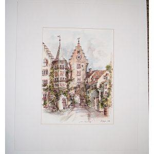 hildegard pfeifle altensteig malerin meersburg bodensee schwarzwald federzeichnung coloriert