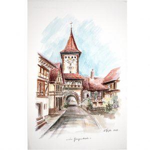 In Gengenbach, Aquarell von Hildegard Pfeifle