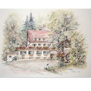 Kropfmühle, Gaststätte im Nordschwarzwald, Seewald, Federzeichnung coloriert von Hildegard Pfeifle