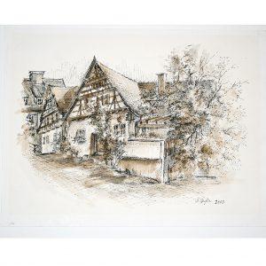 Altensteig, Nordschwarzwald, früherer Ochsen, braun lasierte Federzeichnung von Hildegard Pfeifle