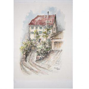 Pfarrhaus in Altensteig, Schwarzwald, Ferdzeichnung coloriert von Hildegard Pfeifle