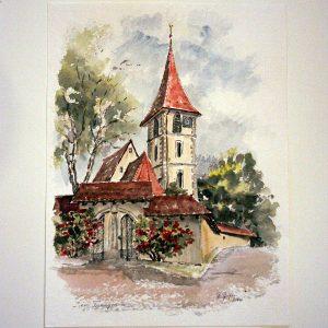 Kirche in Tieringen, Aquarell von Hildegard PfeifleKirche in Tieringen, Aquarell von Hildegard Pfeifle