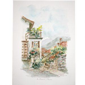 In Breno, Tessin, Italien, Südtirol, Federzeichnung coloriert von Hildegard Pfeifle