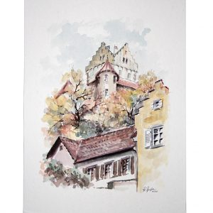 In Meersburg, Bodensee. Baden-Württemberg, Aquarell von Hildegard Pfeifle