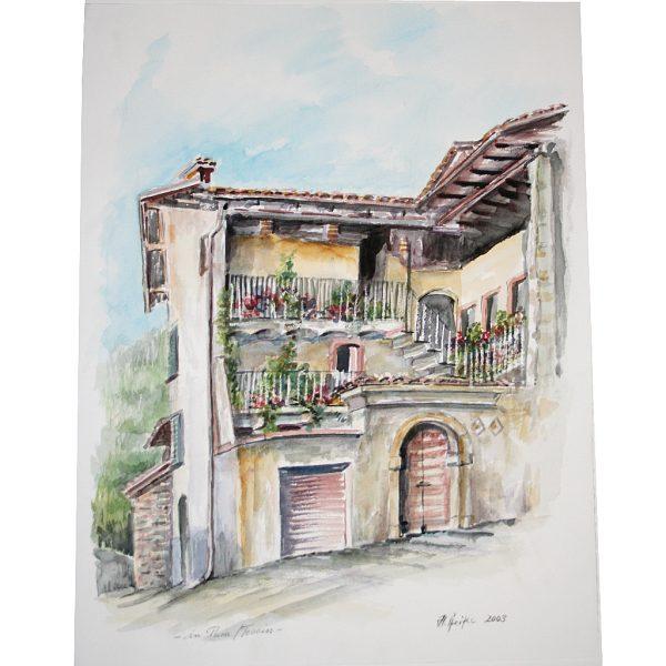 In Pura, Tessin, Italien, Aquarell von Hildegard Pfeifle