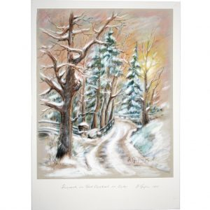 Der Kurpark in Bad Wildbad im Nordschwarzwald im Winter mit viel Schnee, Pastell von Hildegard Pfeifle