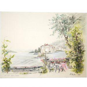 Isola Bella, Lago Maggiore, Italien, schöne Pastellzeichnung von Hildegard Pfeifle
