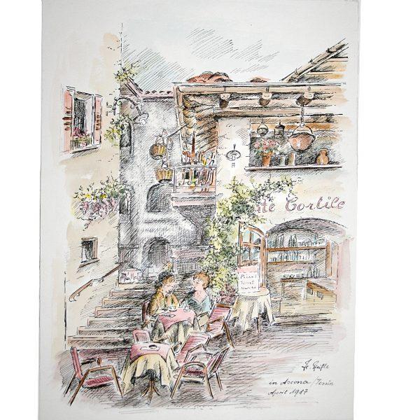 Straßencafe in Ascona Tessin im Sommer 1987