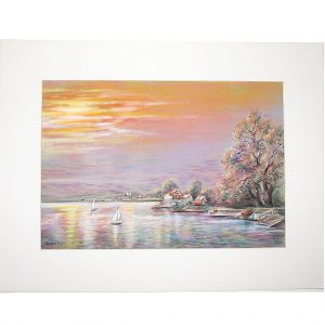 Langenargen am Bodensee bei Sonnenuntergang in Pastell gemalt von Hildegard Pfeifle 2005
