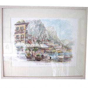 gardasee, italien, urlaub, sonne, berge, landschaftsmalerei, architektur, federzeichnung coloriert, hildegard Pfeifle