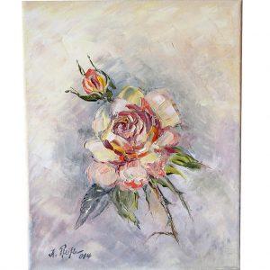 rose, blumen, ölgemälde, hildegard pfeifle