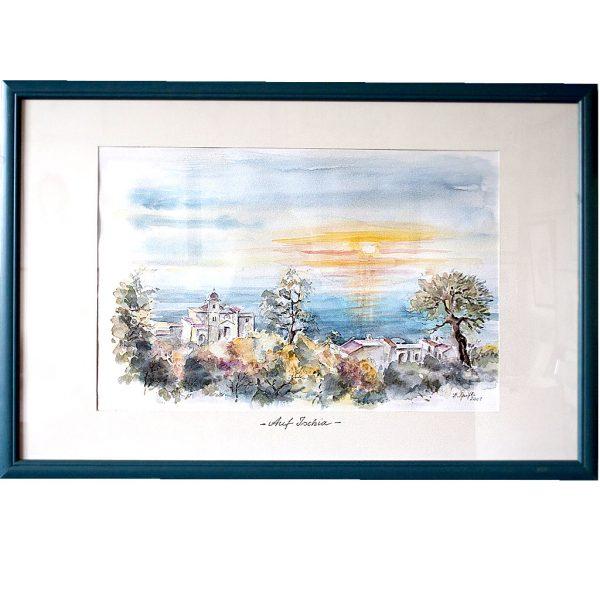 ischia, italien, urlaub, sonnenuntergang, aquarell, hildegard pfeifle