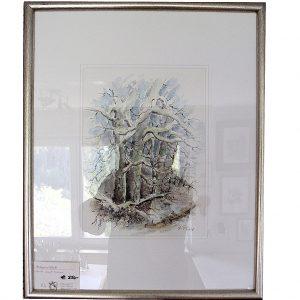 wald, bäume, winter, hildegard pfeifle, aquarel